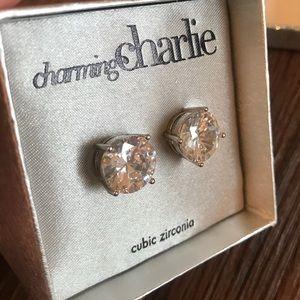 NWT jumbo cubic zirconia stud earrings